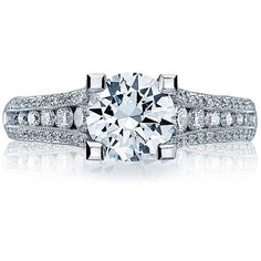 Tacori HT2513RD65-12X Classic Crescent Platinum Channel Set Engagement... ($6,610) ❤ liked on Polyvore featuring jewelry, rings, tacori jewelry, tacori, channel set engagement ring, channel setting engagement rings and tacori rings