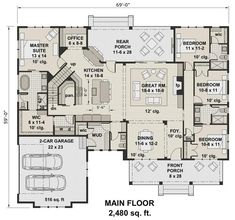 The house has 2480 square feet of heated and cooled living space and includes these awesome amenities: • Wide walk-in kitchen pantry • Spacious laundry room • Fireplace in the Great Room • Mudroom • Powder room #houseplan #Mudroom