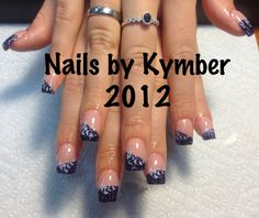 """OPI barely there nude polish with purple diagonal tips and """"faded"""" falling hearts."""
