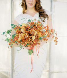 Jose Villa, bouquet by Flowerwild, rusts, oranges, golds