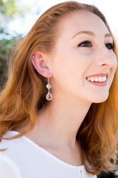 Silver crystal drop earrings, Formal earrings, Bridesmaid gift $26