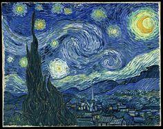 Van Gogh, cielo stellato. Il profilo del paese sscompare sotto la potenza del cielo stellato e le fronde dei cipressi che paiono fiamme. Un tripudio cosmico che non ha eguali!