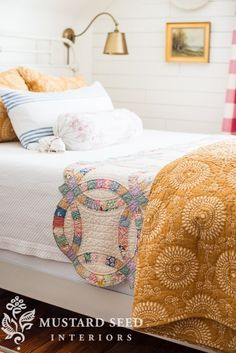A quilt, a step stool, & a trip by featuring Uma Resist Gold Quilt and Shams and Ibiza French Blue Decorative Pillow: Quilt Display, Miss Mustard Seeds, Comfortable Pillows, Cozy Bedroom, Master Bedroom, Bedroom Decor, Cozy Place, Sit Back And Relax, Linen Bedding
