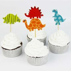 dinosaur cupcake topper kids birthday party ideas, cool kids parties, party supplies