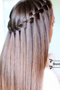 Are you looking for a simple tutorial that can teach you how to do a waterfall braid? Our detailed tutorial is just for you! Master this style fast! wasserfall Learn How to Do a Waterfall Braid Easy Hairstyles For Medium Hair, Box Braids Hairstyles, Cool Hairstyles, Wedding Hairstyles, Hair Updo, Romantic Hairstyles, Wavy Hair, Hairstyle Ideas, Straight Hairstyles For Long Hair