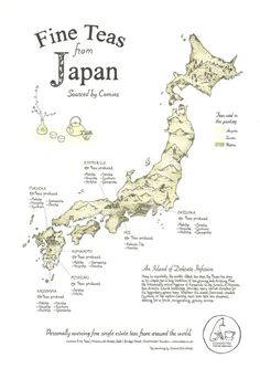 tea map of japan, poster by donna enticknap. painted in japanese teas