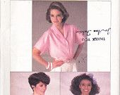 CLEARANCE Vintage 1980's Sewing Pattern Womens Blouse Simplicity 6908 Sizes 10-12-14 Bust 32.5-34-36""