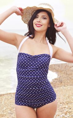 Blue Polka Dot Retro Swimsuit