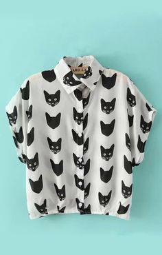 Cat Heads Printing Lapel Short Sleeves Chiffon Blouse - 6ks.com