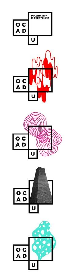 Bruce Mau Design. OCAD University Visual Identity. I think this is a great logo. The concept behind it is a logo that is a blank canvas. The work of students can be featured in it as well as other themes. It is very graphic, the type is used to complement that geometry.: