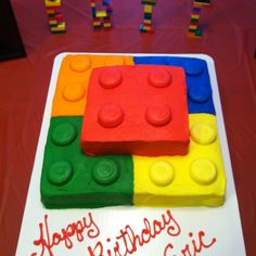 Lego Birthday Cake...We should try and make this today.