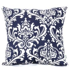 Majestic Home Goods French Quarter Indoor Outdoor Large Decorative Pillow Large Throw Pillows, Throw Cushions, Outdoor Throw Pillows, Decorative Pillows, Blue And White Pillows, Navy And White, Navy Blue, Beach Bedroom Decor, Scroll Pattern