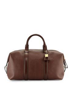 N3DJR TOM FORD Buckley Large Leather Duffle Bag, Brown