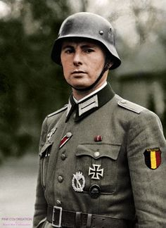 """Léon Degrelle (June 15th 1906 - March 31th 1994) Degrelle was a Walloon Belgian Officer during the World War II and later he joined the Waffen SS. He fought on the Eastern Front and received the Eastern front medal (""""Winterschlacht im Osten 1941/42) in August 1942."""