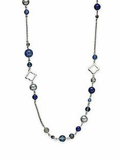 David Yurman - 18K Gold & Semi-Precious Multi-Stone Station Necklace/Blues