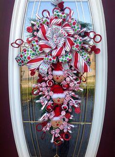 "Christmas Wreath Vertical Teardrop Holiday Door Swag..""Peppermint Gingerbread"