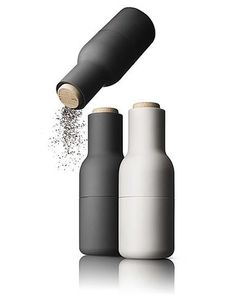 Bottle Grinders by Menu - stylish and dispenses from the top, so no unwanted salt or pepper on the table