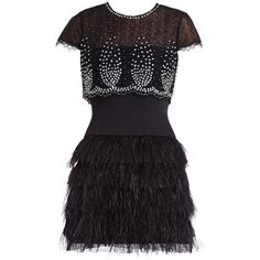 KARLEY EMBELLISHED OVERLAY AND FEATHER SKIRT DRESS (€685) ❤ liked on Polyvore featuring dresses, vestidos, short dresses, vestiti, short sleeve cocktail dress, sheer dress, embellished dress, short sleeve mini dress and bcbgmaxazria dress