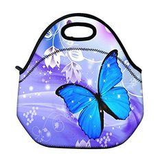 Schoolsupplies Blue Butterfly Insulated Neoprene Lunch Bag Tote Handbag Lunchbox Food Container Gourmet Tote Cooler Warm Pouch for School Work Office >>> Continue to the product at the image link.