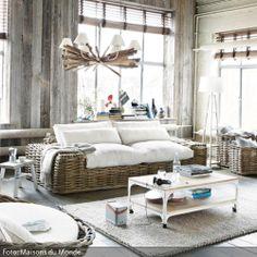 Divano color avorio in rattan e tessuto posti Saint-Tropez Decor, Hallway Furniture, Furniture, Home Decor, Room Inspiration, House Interior, Living Room Inspiration, Interior Design, Home And Living