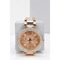 Boohoo Lucy Diamante Face Bracelet Watch ($20) ❤ liked on Polyvore featuring jewelry, watches, rose gold, diamante jewelry, rose gold jewelry, red gold jewelry, bracelet watches ve bracelet jewelry