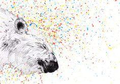 Polar Bear // Endangered Animals Art Print by Sandra Dieckmann Art And Illustration, Polar Bear Illustration, Illustrations, Polar Bears Endangered, Sandra Dieckmann, Ghost In The Machine, Print Artist, Graffiti, Art Prints