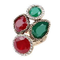Cluster ring vintage style ruby emerald resin rhinestone statement fashion ring   #Cluster #Style #Statement #Ring #Women #Accessory