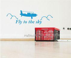 Plane Mini Fly To The Sky Wall Sticker Nursery Wall Stickers, Kids Wall Decals, Plane, Sky, Mini, Heaven, Aircraft, Heavens, Nursery Wall Decals