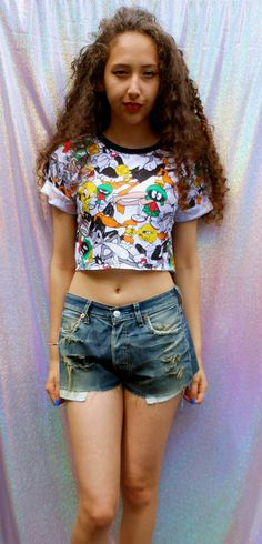 09e441f060df5b classic 90 s looney tunes swag style crop top tshirt fresh boss dope  celebrity festival clothing animal