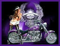 Purple Harley Davidson art