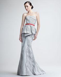 Carolina Herrera Woodgrain-Print Peplum Gown
