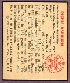 Richie Ashburn 1950 Bowman Philadelphia Phillies Baseball Card Tilden Nebraska Phillies Baseball, Baseball Cards, Philadelphia Sports, The Outfield, Freshman, Nebraska, Vintage, Vintage Comics