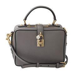 Dolce & Gabbana Leather Dolce Box Bag (34.831.375 IDR) ❤ liked on Polyvore featuring bags, handbags, shoulder bags, neutrals, black leather shoulder bag, grey leather purse, leather handbags, gray leather purse and black leather handbags