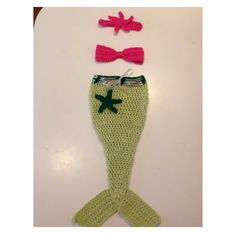 crochet mermaid costume outfit photo prop bright colors ocean starfish adjustable ribbon cute soft picture props newborn infant 0-3 months on Etsy, $40.00
