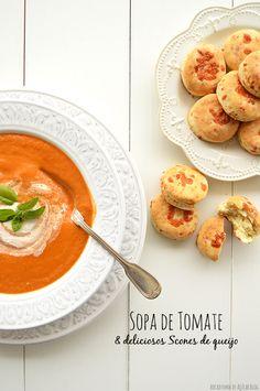 Bocadinhos de Açúcar: Sopa de tomate  e Scones de queijo Cheddar