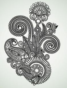 Hand draw line art ornate flower design Stock Photo - 10798001