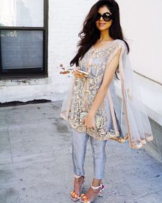 Stitching Styles Of Pakistani Dresses Blue Net Stitching Cape Style Eid Outfits, Pakistani Outfits, Indian Outfits, Wedding Outfits, Ethnic Fashion, Asian Fashion, Desi Clothes, Indian Designer Wear, Bollywood Fashion