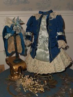 ~~~Superb French Blue silk Costume with matching Bonnet ~~~