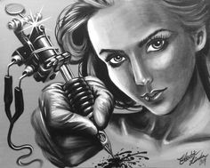 Acrylic painting Tattoo girl by Electric Linda