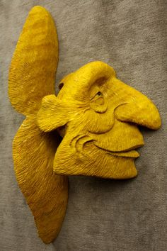 Yellow Fish Wood Carving Whimsical Fantasy by TreeWizWoodCarvings, $135.00