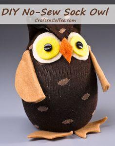 Great idea for scouts -- DIY a no-sew Sock Owl! CraftsnCoffee.com.