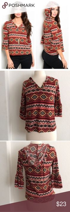 """Aztec print hoodie Tribal print hooded sweater  S: L 23"""" B 34"""" • M: L 24"""" B 36"""" • L: 25"""" B: 38"""" Materials- 96% polyester/4% spandex. This top has a V neck and is somewhat lightweight. The sleeves have some flare for extra detail. Very stretchy! Availability- S•M•L • 2•2•2                                  ⭐️This item is brand new from manufacturer without tags.  🚫NO TRADES 💲Price is firm unless bundled 💰Ask about bundle discounts Tops Sweatshirts & Hoodies"""