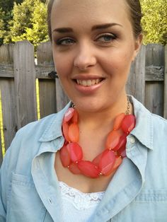 Coral chunky necklace