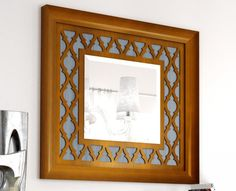 Grupo Seys Basilea Wall Mirror With a Solid Wood Frame in 28 Finish Options