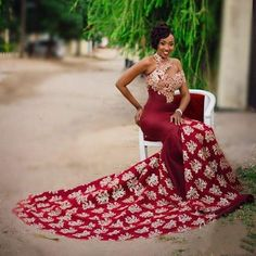 Sexy Burgundy Mermaid Long Dresses Evening Gowns With Gold Lace Appliques African High Neck Women Formal Dress One Shoulder Evening Dresses African Wedding Dress, African Print Dresses, African Print Fashion, African Fashion Dresses, African Dress, Wedding Dresses, Prom Gowns, Wedding Hijab, Ankara Fashion