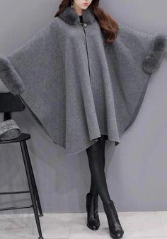 Grey Patchwork Irregular Fur Collar Sleeve Cape Coat - New ideas Hijab Fashion, Fashion Outfits, Mode Mantel, Mode Abaya, Fluffy Coat, Cape Coat, Fur Cape, Batwing Sleeve, Fur Collars