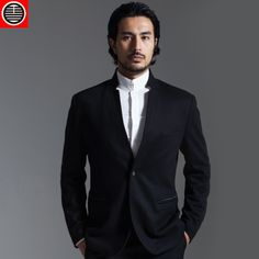 Chinese style black god of wealth one button slim suit male chinese style stand collar suit commercial outerwear wool $403.80