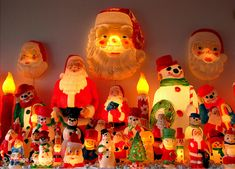 blow mold figurines on mantle ruby lane retro christmas vintage holiday christmas past - Christmas Blow Molds