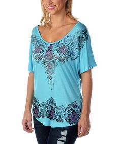 Another great find on #zulily! Aqua Lace Print Dolman Top - Plus Too #zulilyfinds