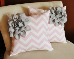 TWO Decorative Pillows Gray Corner Dahlia on Light by bedbuggs, $66.00